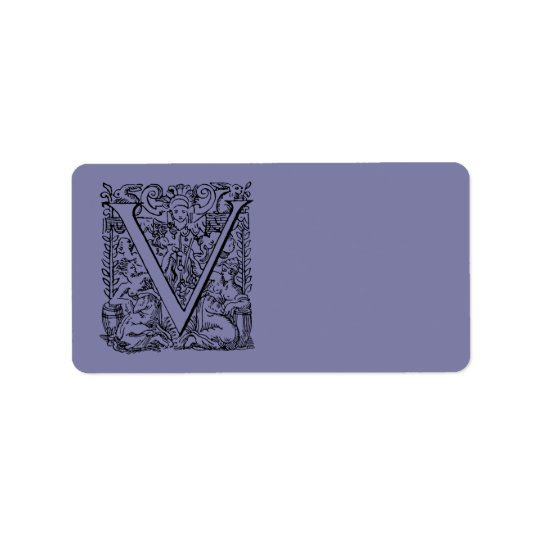 "Vintage Letter V Monogram Pale Purple Lavender ""V"" Address Label"