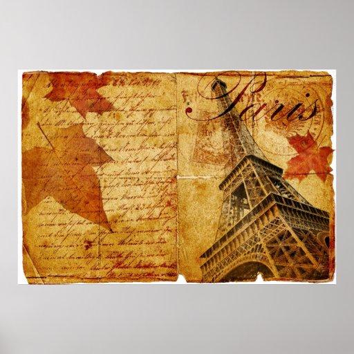 Vintage lettering of Paris Poster