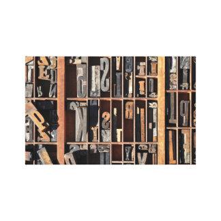 Vintage Letterpress Blocks Stretched Canvas Print