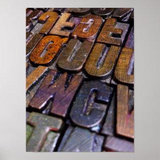 vintage letterpress type texture poster