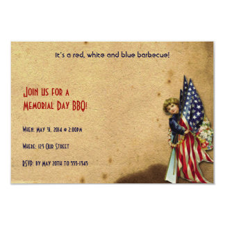 Vintage Liberty Girl with U.S. Flags Memorial Day 9 Cm X 13 Cm Invitation Card