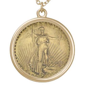 Vintage Liberty Gold Coin Pendant Charm Gift Idea