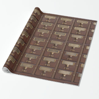 Vintage Library Card Catalog Drawers Wrapping Paper
