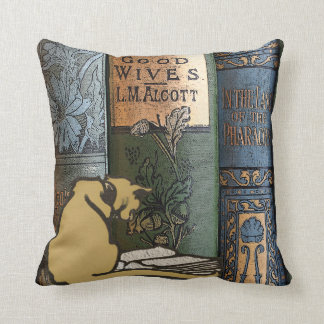 Vintage Library Cat Reading Book Art Cushion