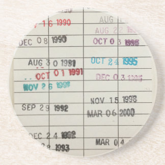 Vintage Library Due Date Cards Beverage Coasters