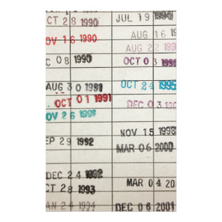 Vintage Library Due Date Cards Customised Stationery