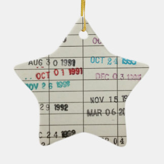 Vintage Library Due Date Cards Ceramic Star Decoration