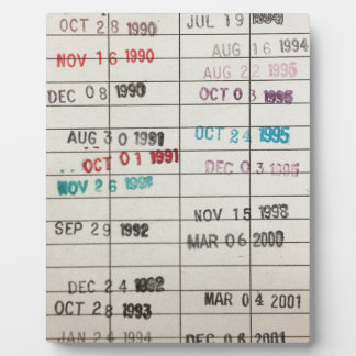 Vintage Library Due Date Cards Display Plaque