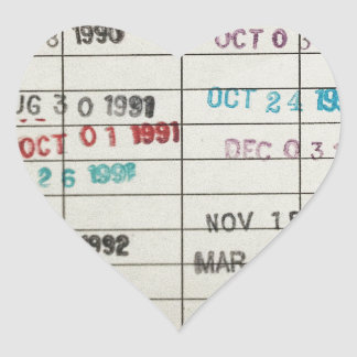 Vintage Library Due Date Cards Heart Sticker