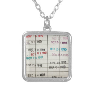 Vintage Library Due Date Cards Square Pendant Necklace