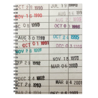 Vintage Library Due Date Cards Spiral Notebook