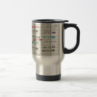Vintage Library Due Date Cards Stainless Steel Travel Mug