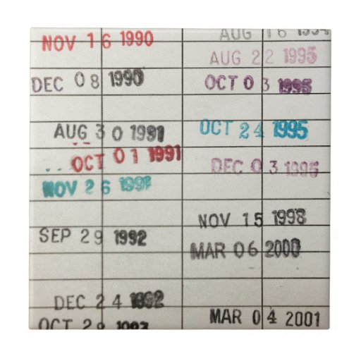 Vintage Library Due Date Cards Tiles