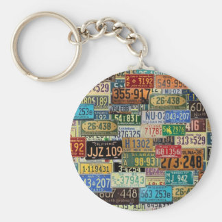 Vintage License Plates Basic Round Button Key Ring