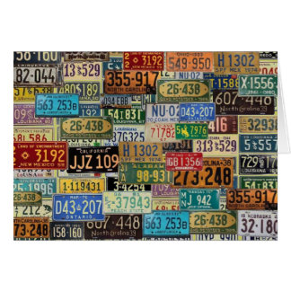 Vintage License Plates Greeting Card
