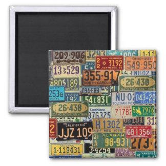 Vintage License Plates Square Magnet