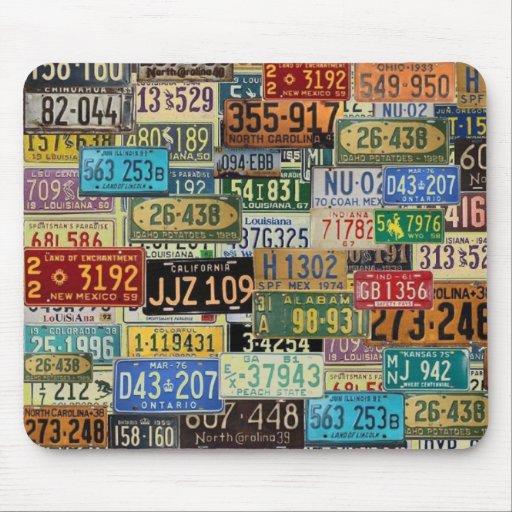 Vintage License Plates Mouse Pads
