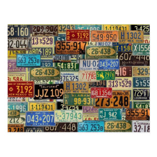 Vintage License Plates Postcard