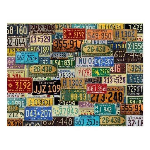 Vintage License Plates Post Cards