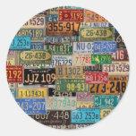 Vintage License Plates Round Stickers