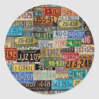 Vintage License Plates Round Sticker