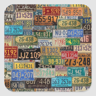 Vintage License Plates Square Stickers