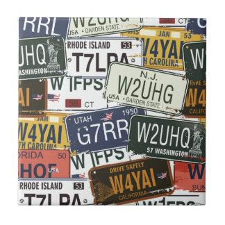Vintage License Plates Tile