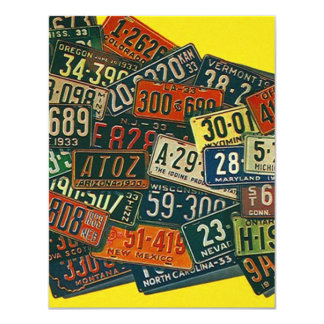 """Vintage LICENSE PLATES We've Moved Announcements 4.25"""" X 5.5"""" Invitation Card"""