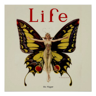 Vintage Life Flapper Butterfly 1922 Print