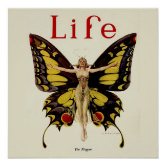 Vintage Life Flapper Butterfly 1922 Poster