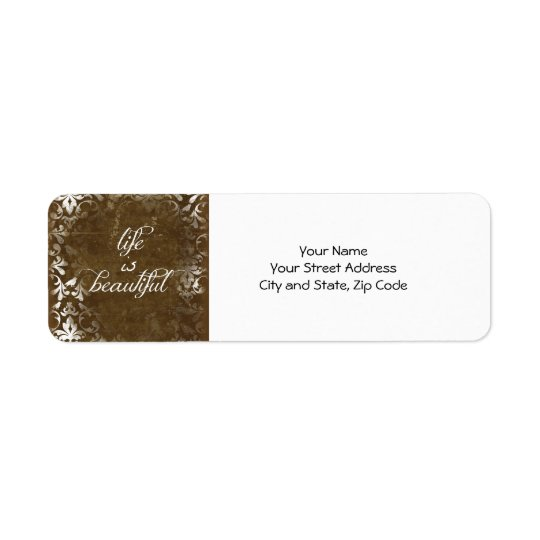 Vintage Life is Beautiful Quote Return Address Label