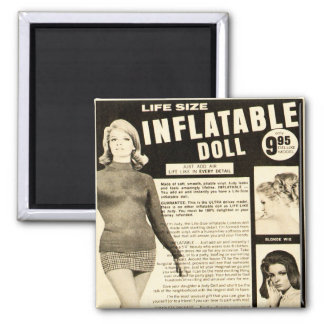 Vintage Life-size Inflatable Doll Advertisement Square Magnet