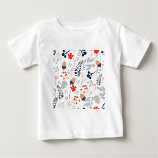 Vintage Light blue and pink wild flower and leaf Baby T-Shirt