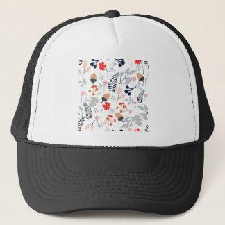 Vintage Light blue and pink wild flower and leaf Trucker Hat