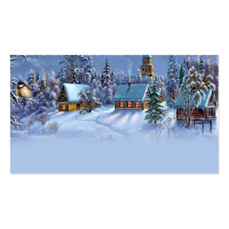 Vintage light blue Christmas snowy world picture. Business Cards
