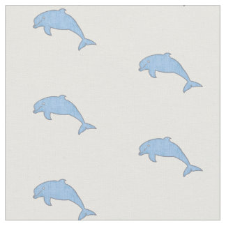 Vintage light blue dolphins fabric