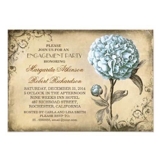 vintage light blue peony rustic engagement party personalized invites