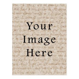 Vintage Light Brown Script Text Parchment Paper Postcard