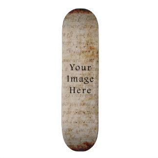 Vintage Light Brown Script Text Parchment Paper Skate Boards