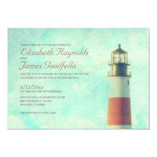 Vintage Lighthouse Wedding Invitations