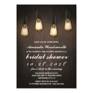 Vintage Lights Chic Bridal Shower Invitations