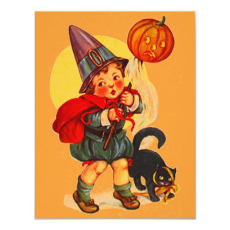 Vintage LiL Witch Cat Halloween Party Invitation
