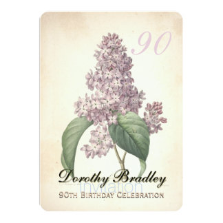 Vintage Lilac 90th Birthday Celebration Invitation