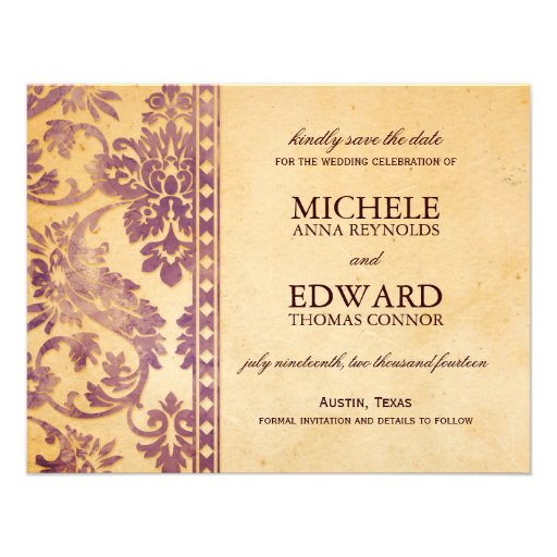 Vintage Lilac Damask Lace Save the Date Custom Announcement