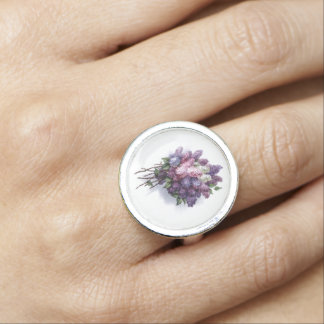 Vintage Lilac Floral Bouquet Retro Jewelry Rings