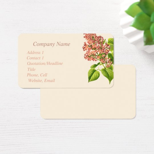 Vintage Lilac Flower Art Business Card Bird Nature