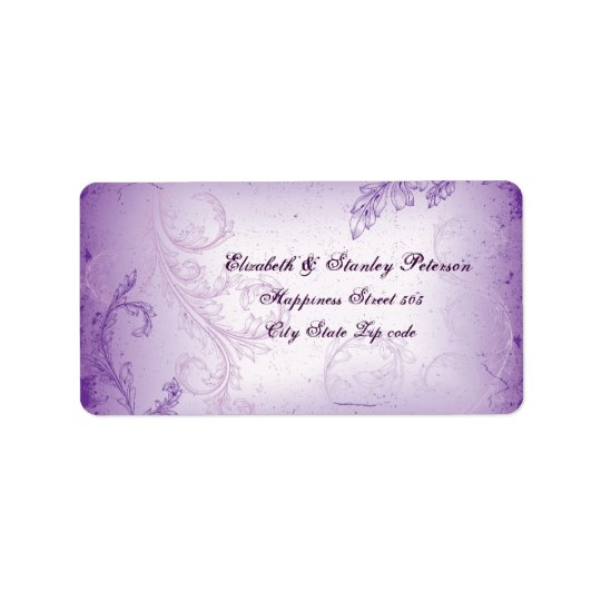 Vintage lilac purple scroll leaf wedding label address label