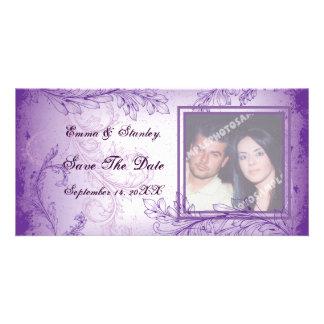 Vintage lilac purple scroll leaf wedding photocard photo cards
