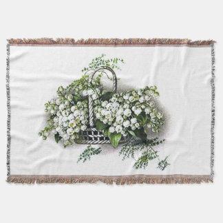 Vintage Lily of the Valley Flower Basket Afghan Throw Blanket