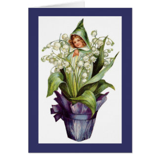 Vintage Lily of the Valley Flower Fairy Card